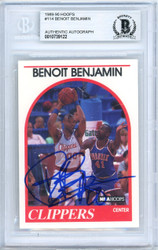 Benoit Benjamin Autographed 1989-90 Hoops Card #114 Los Angeles Clippers Beckett BAS #10739122