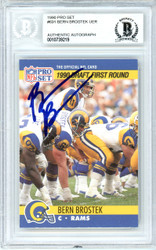 Bern Brostek Autographed 1990 Pro Set Rookie Card #691 Los Angeles Rams Beckett BAS #10739219