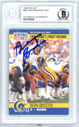Bern Brostek Autographed 1990 Pro Set Rookie Card #691 Los Angeles Rams Beckett BAS #10739220