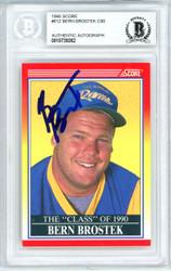 Bern Brostek Autographed 1990 Score Rookie Card #612 Los Angeles Rams Beckett BAS #10739262