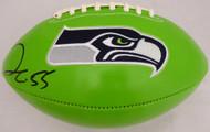 Sale!! Frank Clark Autographed Green Seattle Seahawks Logo Football MCS Holo Stock #137955