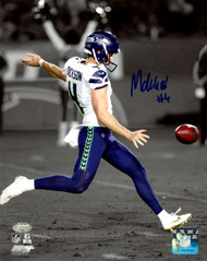 Michael Dickson Autographed 8x10 Photo Seattle Seahawks Spotlight In Blue MCS Holo Stock #138029
