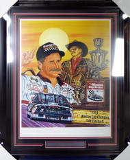 "Dale Earnhardt Autographed Framed Sam Bass Print Lithograph Photo ""Six Shooter"" Beckett BAS #A88636"