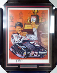 "Dale Earnhardt Autographed Framed Sam Bass Print Lithograph Photo ""Take Five!"" Beckett BAS #A88618"