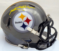 Antonio Brown Autographed Pittsburgh Steelers Black Chrome Speed Mini Helmet Beckett  BAS #C28753
