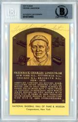 Freddie Lindstrom Autographed HOF Plaque Postcard Beckett BAS #10734455