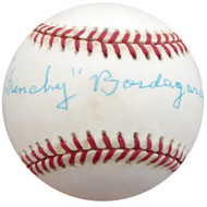 """Frenchy"" Bordagary Autographed Official NL Baseball Brooklyn Dodgers Beckett BAS #F26220"