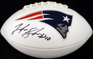 Josh Gordon Autographed New England Patriots White Logo Football Beckett BAS Stock #139560