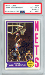 """Super"" John Williamson Autographed 1974 Topps Rookie Card #234 New York Nets PSA/DNA #40213932"