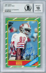 Jerry Rice Autographed 1986 Topps Rookie Card #161 San Francisco 49ers Gem Mint 10 Beckett BAS #10837023