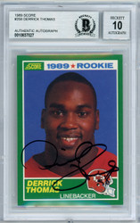 Derrick Thomas Autographed 1989 Score Rookie Card #258 Kansas City Chiefs Gem Mint 10 Beckett BAS #10837027