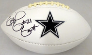 Ezekiel Elliott Autographed Dallas Cowboys White Logo Football Beckett BAS Stock #143243