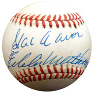 Hank Aaron & Eddie Mathews Autographed Official NL Baseball Milwaukee Braves Beckett BAS #E48613