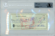 Vince Lombardi Autographed 3x6 Check Green Bay Packers Beckett BAS #10845281