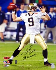 "Drew Brees Autographed 16x20 Photo New Orleans Saints ""SB XLIV MVP"" Beckett BAS Stock #145149"