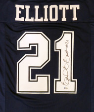Dallas Cowboys Ezekiel Elliott Autographed Blue Jersey Beckett BAS Stock #145328