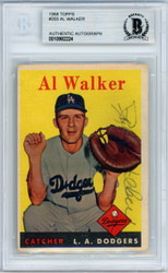 "Al ""Rube"" Walker Autographed 1958 Topps Card #203 Brooklyn Dodgers Beckett BAS #10982224"
