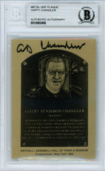 "A.B. AB ""Happy"" Chandler Autographed 1983 HOF Metallic Plaque Card Commissioner Beckett BAS #10982468"