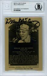 Willie McCovey Autographed 1986 HOF Metallic Plaque Card San Francisco Giants Beckett BAS #10982546