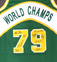 1978-79 NBA Champions Seattle Supersonics Multi Signed Autographed Green Jersey With 9 Signatures Including Fred Brown & Lenny Wilkens MCS Holo Stock #145849