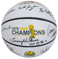"1978-79 NBA Champions Seattle Supersonics Multi Signed Autographed Basketball With 9 Signatures Including Fred Brown & Lenny Wilkens ""HOF 89, 98, 10"" MCS Holo Stock #145852"