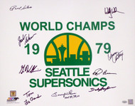 "1978-79 NBA Champions Seattle Supersonics Multi Signed Autographed 16x20 Photo With 9 Signatures Including Fred Brown & Lenny Wilkens ""HOF 89, 98, 10"" MCS Holo Stock #145853"