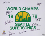 1978-79 NBA Champions Seattle Supersonics Multi Signed Autographed 16x20 Photo With 9 Signatures Including Fred Brown & Lenny Wilkens MCS Holo Stock #145854