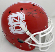 Russell Wilson Autographed Red NC State Wolfpack Full Size Authentic Proline Helmet RW Holo #49730