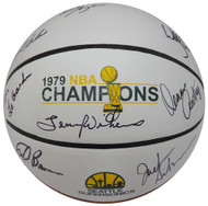 1978-79 NBA Champions Seattle Supersonics Autographed Basketball With 8 Signatures Including Fred Brown & Lenny Wilkens MCS Holo #70338