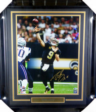 Drew Brees Autographed Framed 16x20 Photo New Orleans Saints Beckett BAS Stock #146654