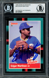 Edgar Martinez Autographed 1988 Donruss The Rookies Rookie Card #36 Seattle Mariners Beckett BAS Stock #147090