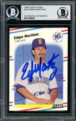 Edgar Martinez Autographed 1988 Fleer Glossy Rookie Card #378 Seattle Mariners Beckett BAS #11076870