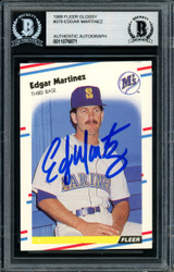 Edgar Martinez Autographed 1988 Fleer Glossy Rookie Card #378 Seattle Mariners Beckett BAS #11076871
