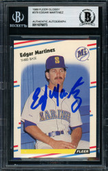 Edgar Martinez Autographed 1988 Fleer Glossy Rookie Card #378 Seattle Mariners Beckett BAS #11076873