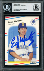 Sale!! Edgar Martinez Autographed 1988 Fleer Rookie Card #378 Seattle Mariners Beckett BAS Stock #147098