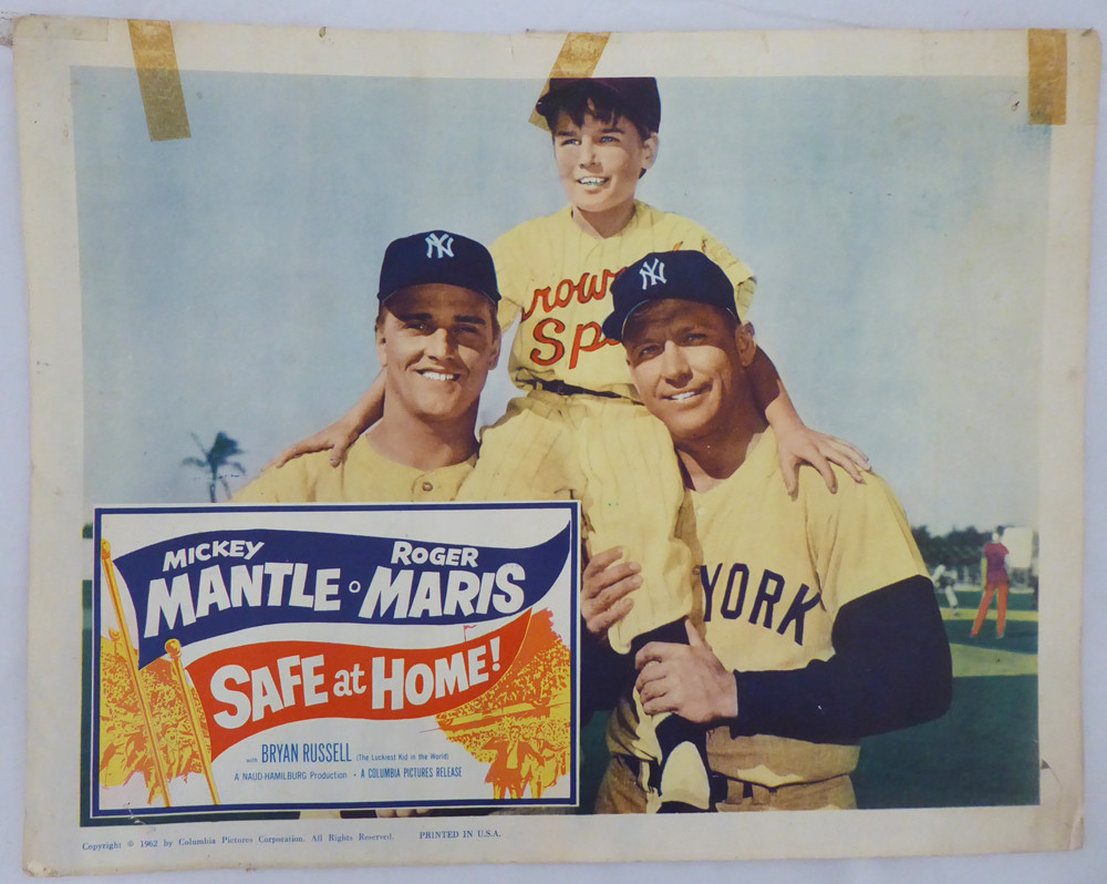1962 Safe At Home Original Unsigned Lobby Card New York Yankees Mickey Mantle Roger Maris Sku 147239