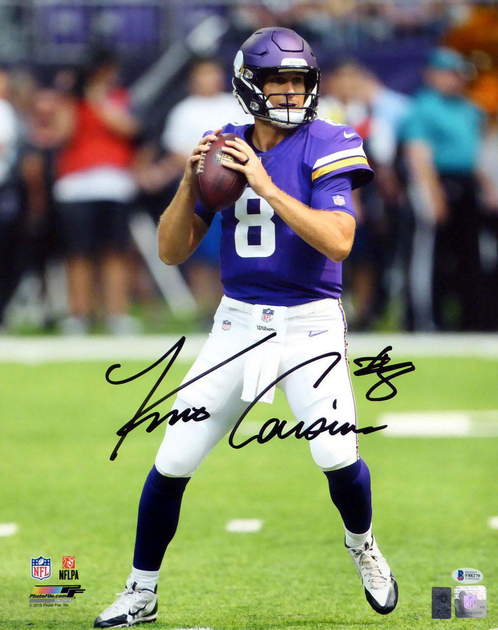 check out b82fd 3eab6 Kirk Cousins Autographed 16x20 Photo Minnesota Vikings Beckett BAS Stock  #147617