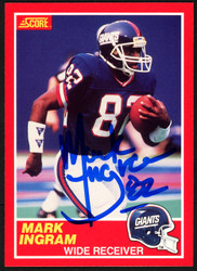 Mark Ingram Sr. Autographed 1989 Score Rookie Card #204 New York Giants Stock #148071