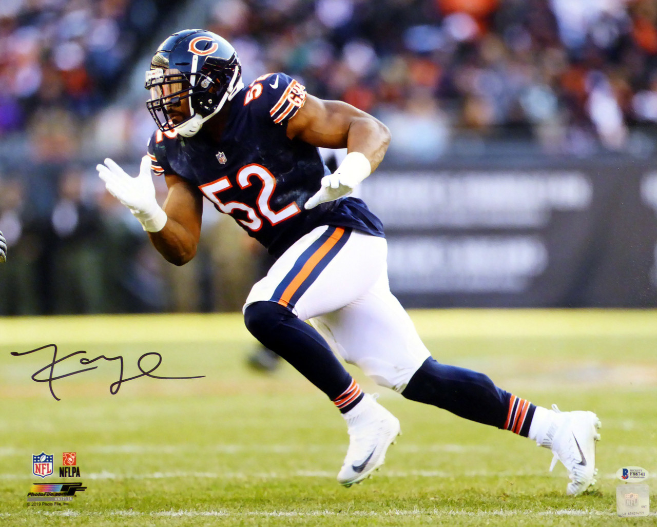 huge selection of 31428 4f0ea Khalil Mack Autographed 16x20 Photo Chicago Bears Beckett BAS Stock #148328