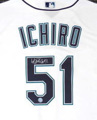 "Seattle Mariners Ichiro Suzuki Autographed White Majestic Cool Base Jersey ""#51"" Size L IS Holo Stock #148634"