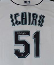 """Seattle Mariners Ichiro Suzuki Autographed White Majestic Cool Base Jersey """"#51"""" Size XL IS Holo Stock #148635"""
