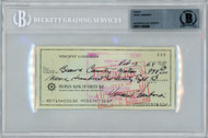 Vince Lombardi Autographed 3x6 Check Green Bay Packers Beckett BAS #11145388