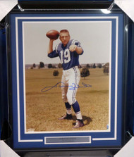 Johnny Unitas Autographed Framed 16x20 Photo Colts Beckett BAS #A20733
