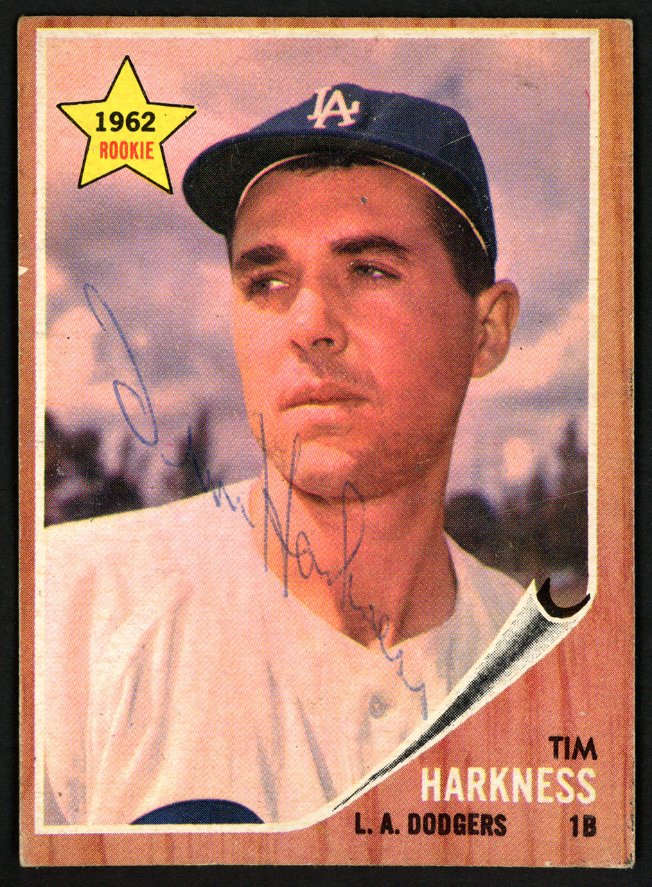 Tim Harkness Autographed 1962 Topps Rookie Card 404 Los Angeles Dodgers Sku 149716