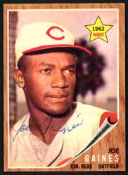 Joe Gaines Autographed 1962 Topps Rookie Card #414 Cincinnati Reds SKU #149723