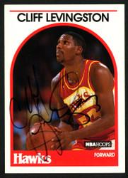 Cliff Levingston Autographed 1989-90 Hoops Card #22 Atlanta Hawks SKU #149747