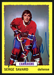 Serge Savard Autographed 1973-74 Topps Card #24 Montreal Canadiens SKU #149962