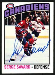 Serge Savard Autographed 1976-77 Topps Card #205 Montreal Canadiens SKU #150191