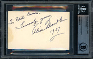 "Alice Marble Autographed 2x3.5 Business Card 1939 Wimbledon ""To Edith"" Beckett BAS #10541076"