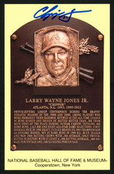 Chipper Jones Autographed HOF Plaque Postcard Atlanta Braves Stock #150326